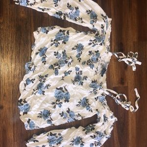 pretty white floral off the shoulder top, am eagle
